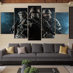 Rank-and-file soldiers 5 Panels Wood N Canvas Wall Art Paintings
