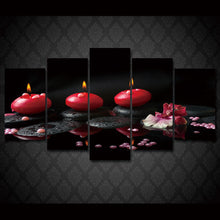 Load image into Gallery viewer, Red Candle 5 Panels Wood N Canvas Wall Art Paintings