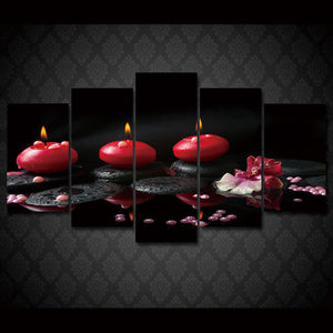 Red Candle 5 Panels Wood N Canvas Wall Art Paintings