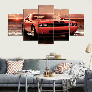 Red Car -2 5 Panels Wood N Canvas Wall Art Paintings