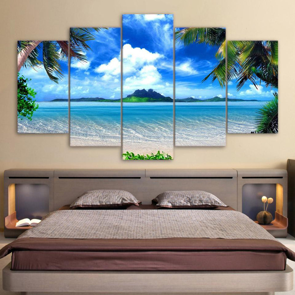 Relaxing View 5 Panels Wood N Canvas Wall Art Paintings