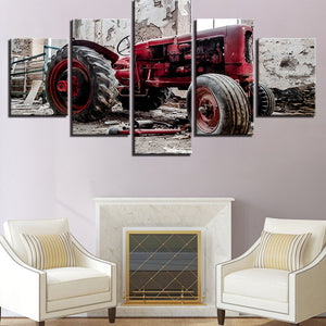Retro Car 5 Panels Wood N Canvas Wall Art Paintings