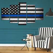 Load image into Gallery viewer, Retro black American flag large 5 Panels Wood N Canvas Wall Art Paintings