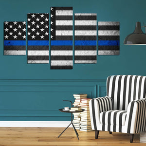 Retro black American flag large 5 Panels Wood N Canvas Wall Art Paintings