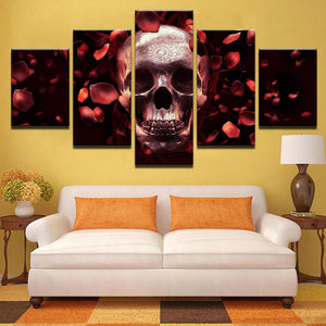 Rose Red Death 5 Panels Wood N Canvas Wall Art Paintings