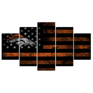 Rugby Sports Flag Broncos 5 Panel Wall Art Canvas Painting 5 Panels Wood N Canvas Wall Art Paintings