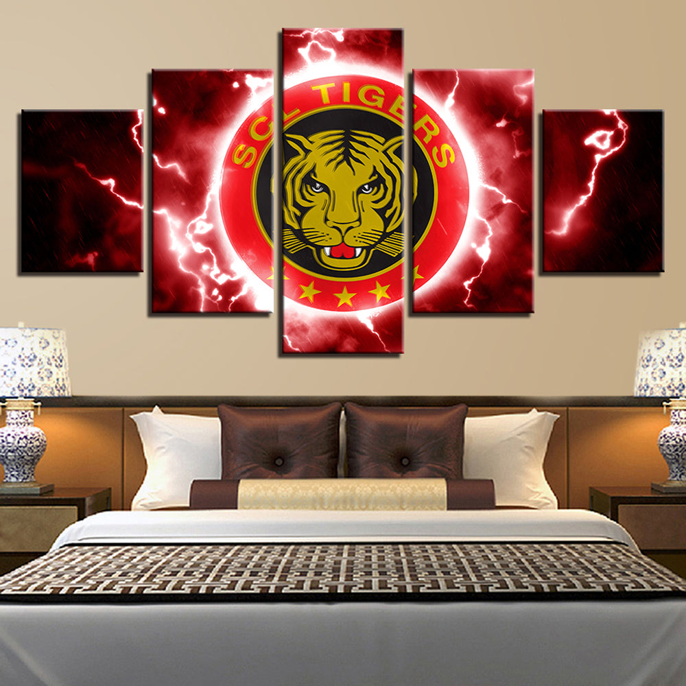 SCL tigars 5 Panels Wood N Canvas Wall Art Paintings