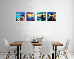 Sailboat Lighthouse 4 Panels Wood N Canvas Wall Art Paintings