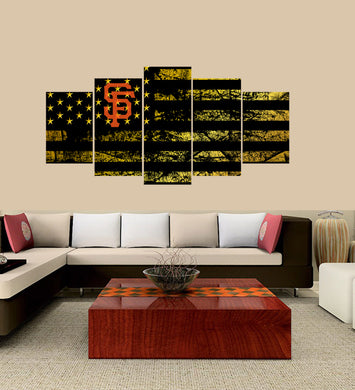 San Francisco Giants logo 5 Panels Wood N Canvas Wall Art Paintings