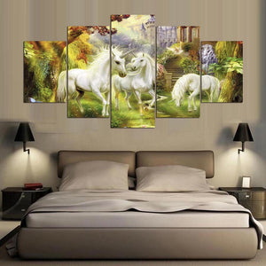 Scenery Unicorn Castle 5 Panels Wood N Canvas Wall Art Paintings