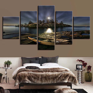 Sea Night View 5 Panels Wood N Canvas Wall Art Paintings