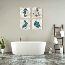 Load image into Gallery viewer, Sea Turtle Deco Seabird 4 Panels Wood N Canvas Wall Art Paintings
