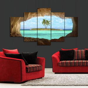 Seascape-1 5 Panels Wood N Canvas Wall Art Paintings