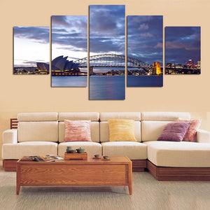 Seascape 5 Panels Wood N Canvas Wall Art Paintings
