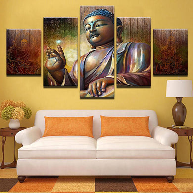 Shakyamuni Buddha 5 Panels Wood N Canvas Wall Art Paintings