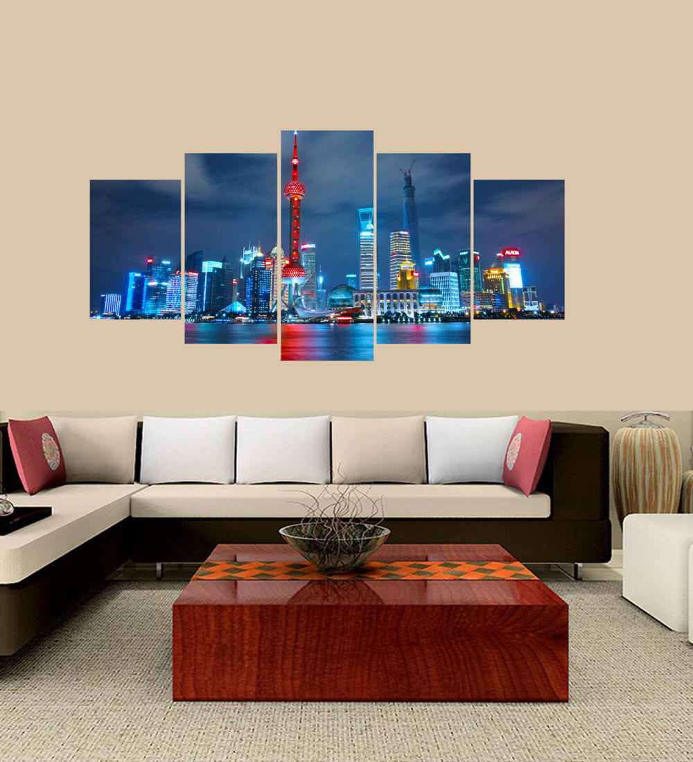Shanghai At Night 5 Panels Wood N Canvas Wall Art Paintings