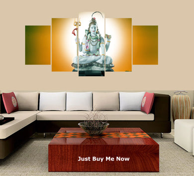 Shiva 5 Panels Wood N Canvas Wall Art Paintings