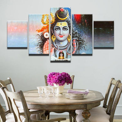 Shiva Day and Night 5 Panels Wood N Canvas Wall Art Paintings