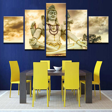 Shiva Statue 5 Panels Wood N Canvas Wall Art Paintings