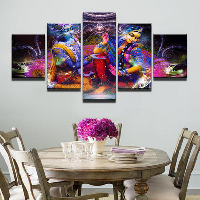 Shiva and Parvati 5 Panels Wood N Canvas Wall Art Paintings