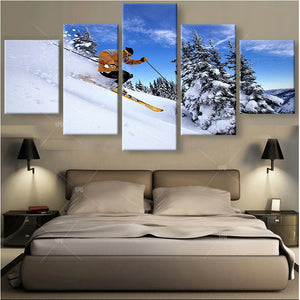 Skiing 5 Panels Wood N Canvas Wall Art Paintings
