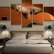 Load image into Gallery viewer, Sleepy Cat on Guitar 5 Panels Wood N Canvas Wall Art Paintings