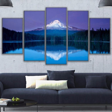 Snow Capped Mountain 5 Panels Wood N Canvas Wall Art Paintings