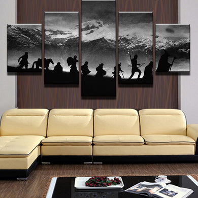Snow Capped Mountains Scenery 5 Panel Wall Art Canvas Painting 5 Panels Wood N Canvas Wall Art Paintings
