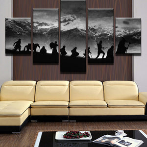 Snow Capped Mountains Scenery 5 Panel Wall Art Canvas Painting