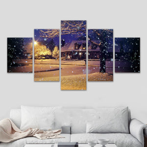 Snow New York 5 Panels Wood N Canvas Wall Art Paintings