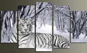 Snow Tiger 5 Panels Wood N Canvas Wall Art Paintings