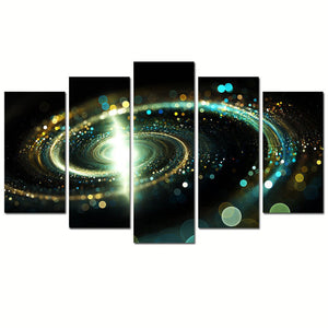 Space Universe 5 Panels Wood N Canvas Wall Art Paintings