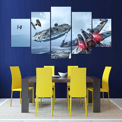 Spaceship-1 5 Panels Wood N Canvas Wall Art Paintings