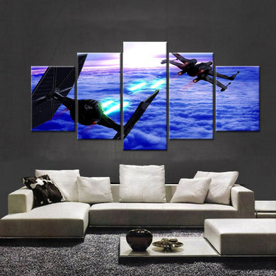 Spaceship-2 5 Panels Wood N Canvas Wall Art Paintings