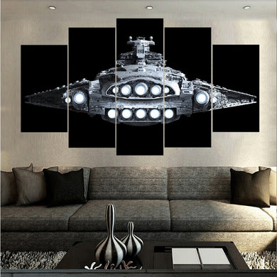 Spaceship-3 5 Panels Wood N Canvas Wall Art Paintings