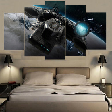 Spaceship 5 Panels Wood N Canvas Wall Art Paintings