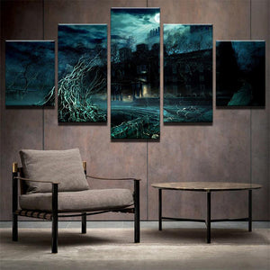Spooky Asylum 5 Panels Wood N Canvas Wall Art Paintings