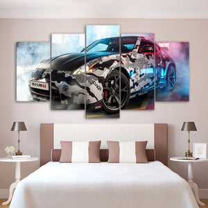 Sport Car 5 Panels Wood N Canvas Wall Art Paintings