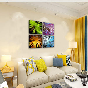 Spring Summer Autumn Winter 4 Panels Wood N Canvas Wall Art Paintings