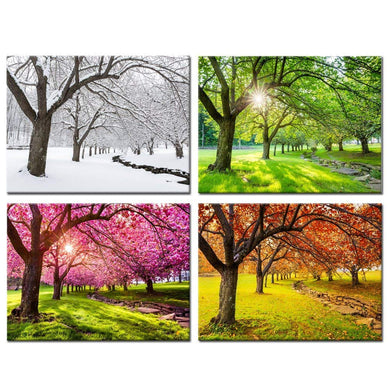 Spring Summer Autumn Winter Four Seasons Landscape Colorful Tree Painting 4 Panels Wood N Canvas Wall Art Paintings