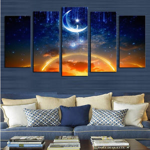 Starry Sky 5 Panels Wood N Canvas Wall Art Paintings
