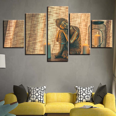 Statue Of Buddha 5 Panels Wood N Canvas Wall Art Paintings