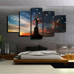 Statue of Lib 5 Panel Wall Art Canvas Painting