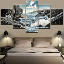 Load image into Gallery viewer, Stone Seaview 5 Panels Wood N Canvas Wall Art Paintings