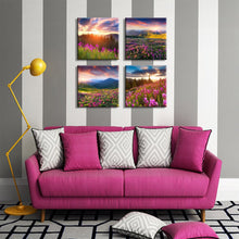 Load image into Gallery viewer, Sun Light over Mountains 4 Panels Wood N Canvas Wall Art Paintings