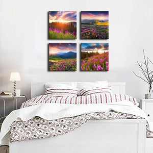 Sun Light over Mountains 4 Panels Wood N Canvas Wall Art Paintings