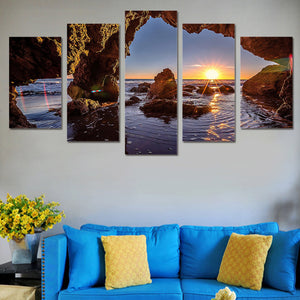 Sunrise-1 5 Panels Wood N Canvas Wall Art Paintings