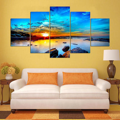 Sunrise-2 5 Panels Wood N Canvas Wall Art Paintings