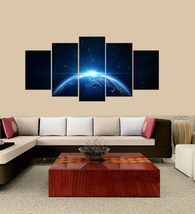 Sunrise The Earth 5 Panels Wood N Canvas Wall Art Paintings