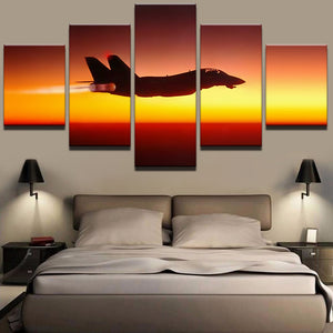 Sunset Aircraft 5 Panels Wood N Canvas Wall Art Paintings
